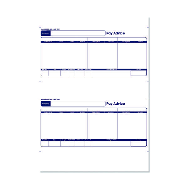 Custom Sage 1-Part Laser Pay Advice Forms (Pack of 250) SE95S
