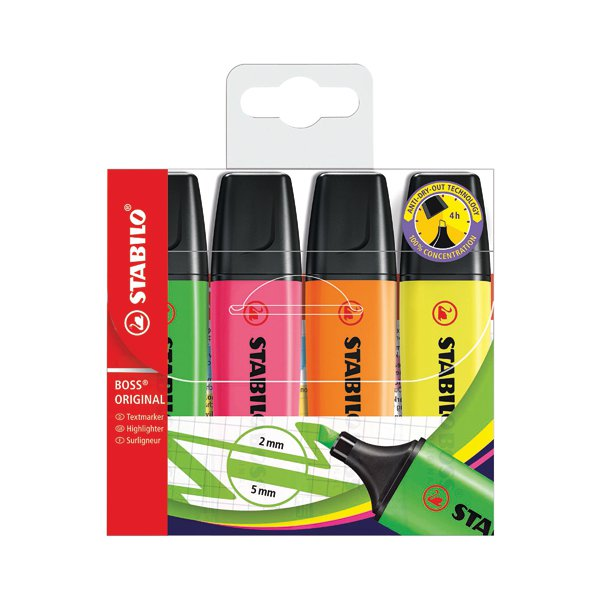 Stabilo Boss Original Highlighters Assorted (Pack of 4) 70/4