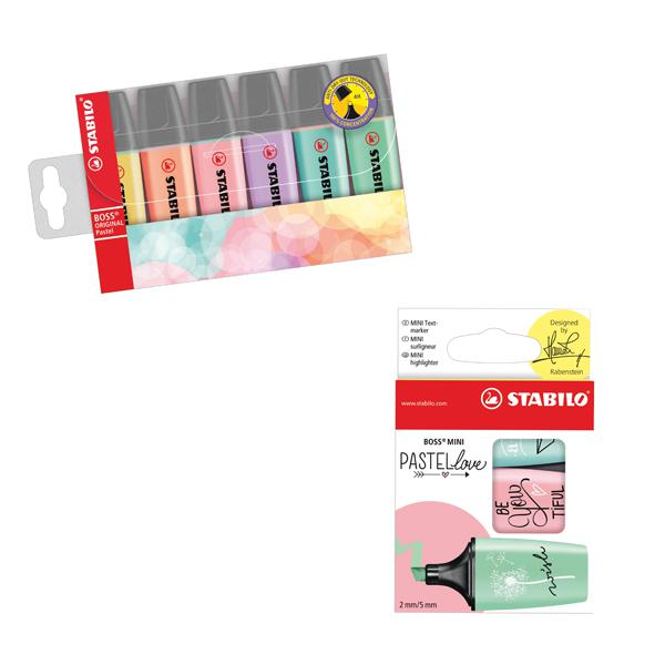 Stabilo Highlighters Assorted Pastel (Pack of 6) with Free Pack of 3 Pastellove Highlighters SS811660