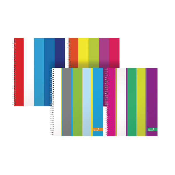 Silvine A4+ Stripes Design Twinwire Notebook 160 Pages Lined with Margin Pack of 4 TWA4AC