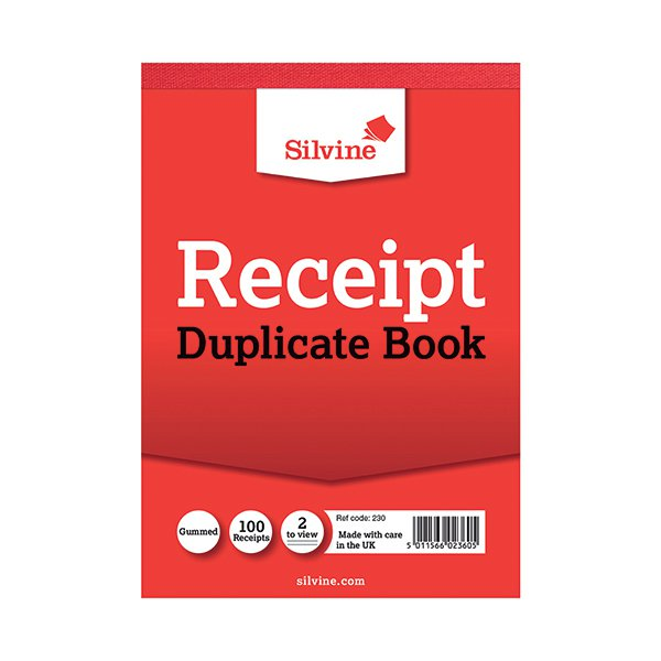 Silvine Dupl 105x148mm Receipt Book Pk12