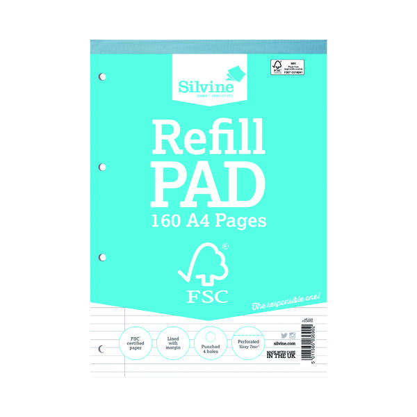 Silvine Envrionmentally Friendly Ruled Refill Pad 160 Pages A4 (Pack of 5) FSCRP80