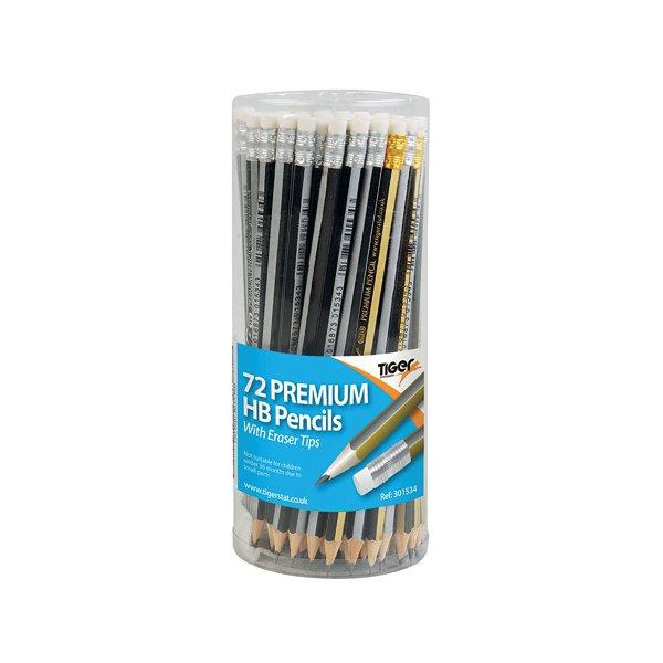 Tiger HB Eraser Tip Pencils Pot Assorted (Pack of 72) 301534
