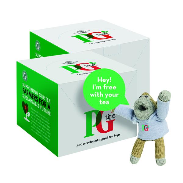 PG Tips Envelope Tea Bags (Pack of 200) Buy 2 Get FOC Monkey VF819646