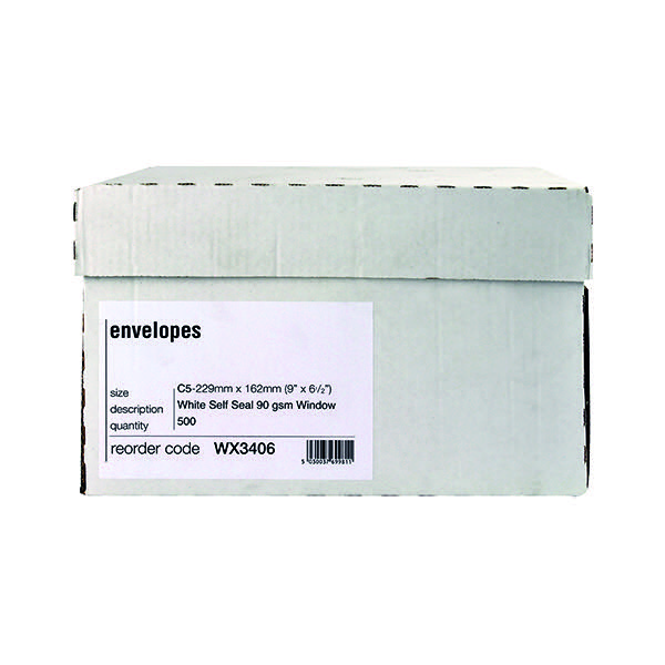Envelope C5 Window 90gsm Self Seal White Boxed WX3406 Pack of 500