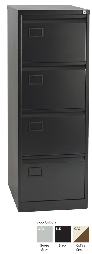Bisley 4 Drawer Filing Cabinet Black