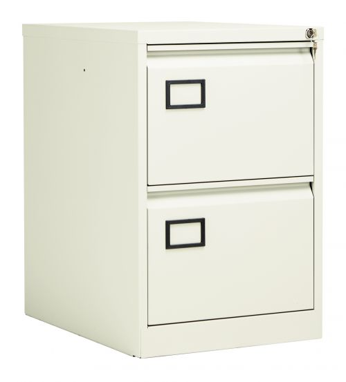 Bisley 2 Drawer Contract Steel Filing Cabinet - Chalk