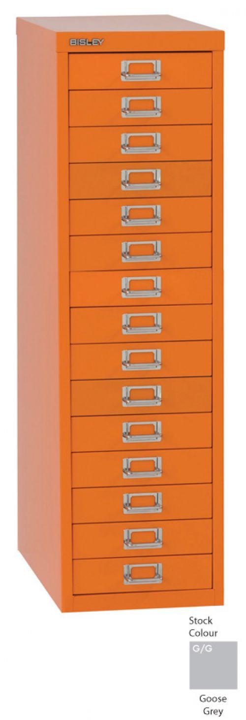 Bisley 15 Drawer A4 Cabinet Grey H3915NL-073